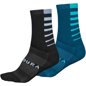 Endura Coolmax Stripe Socks 2-Pack Men kingfisher